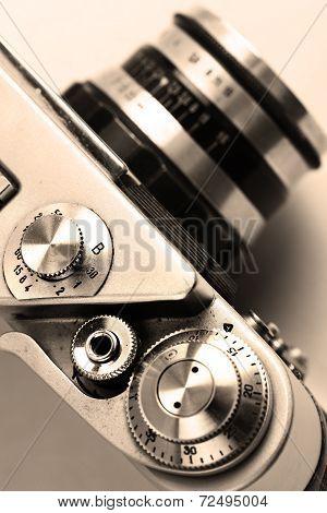 Old Camera. Sepia. Stylish Retro Background.
