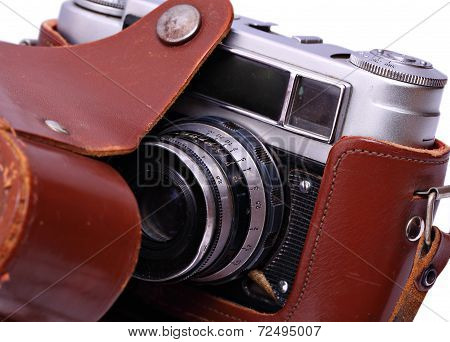 Reporter's Camera In A Leather Case. Retro Style. Isolated.