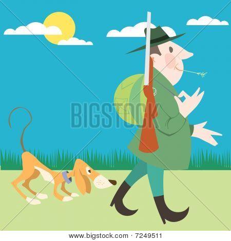 Cazador y su perro