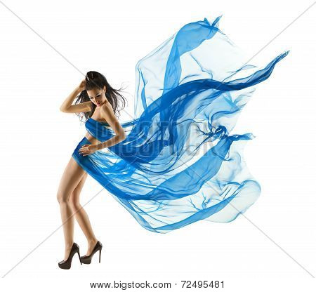 Woman Sexy Dancing In Blue Dress. Fashion Model Dance With Waving Fluttering Fabric. Long Legs. Whit