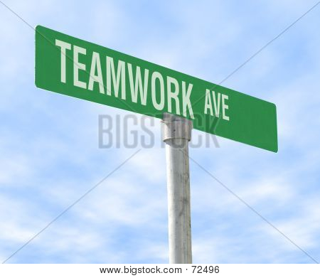 Teamwork Themed Street Sign