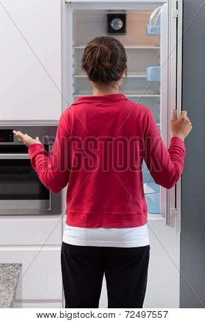 Girl Opening The Empty Refrigerator
