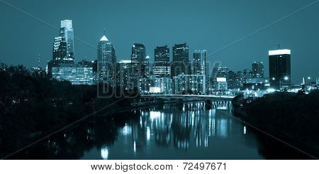 Night View Of The Philadelphia Skyline In Pennsylvania