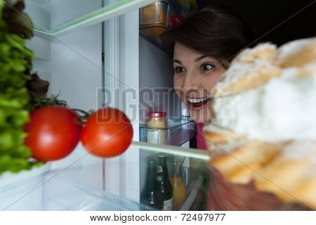 Happy Girl Looking Into The Fridge