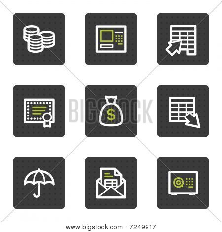 Banking web icons, grey square buttons series