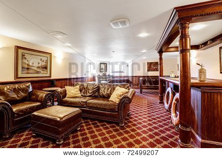 Luxury Family Room With Bar And Rich Leather Furniture Set