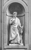 picture of alighieri  - Statue of Dante Alighieri in the niches of the Uffizi Gallery colonnade Florence - JPG