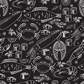 pic of salmon steak  - Seafood and fish chalkboard seamless background pattern on black with white line drawings of fish  calamari  lobster  crab  sushi  shrimp  prawn  mussel  salmon steak and herbs - JPG