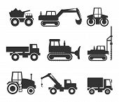 stock photo of construction machine  - Cut Out Black Construction Machinery Icon Symbol Graphics on White - JPG