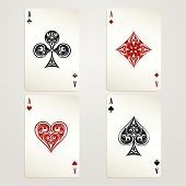 foto of poker hand  - Four aces playing cards vector designs showing each of the four suits in red and black conceptual of a casino and gambling - JPG