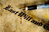 image of deceased  - Close up of Last will text with pen - JPG