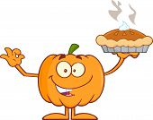 image of pie-in-face  - Happy Halloween Pumpkin Mascot Character Holding Perfect Pie - JPG