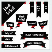 stock photo of friday  - Black Friday Sale vector speech bubbles - JPG