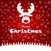 foto of deer horn  - Merry christmas illustration with funny deer vector - JPG