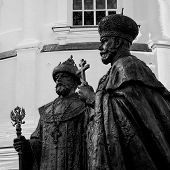stock photo of romanov  - Sculpture of Tsar Mikhail Romanov and the Emperor Nicholas II Romanov - JPG
