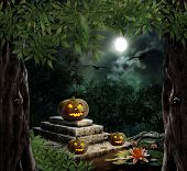 pic of headstones  - Pumpkin Halloween on old stone grave in the night sky - JPG