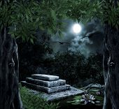 stock photo of moonlit  - Tombstone in celebration of Halloween on the background of the moonlit night - JPG