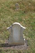 pic of headstones  - Marble headstone and footstone in old cemetery - JPG