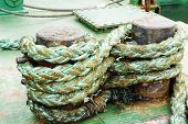 picture of bollard  - Mooring Bollard with the green rope on the deck - JPG