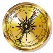 pic of longitude  - Vector Golden Compass isolated on white background - JPG