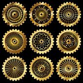 image of steampunk  - Vector golden gears set in the style of steampunk - JPG