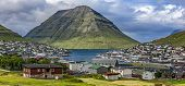 pic of faroe islands  - Panoramic View of the city of Klaksvik Faroe Islands Denmark in the North Atlantic - JPG