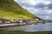 stock photo of faroe islands  - View of part of the city of Klaksvik in the Faroe Islands Denmark in North Atlantic - JPG