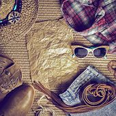 image of taper  - Accessories cowboy retro style on wooden background with blank poster - JPG