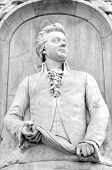 stock photo of mozart  - Architectural detail of the monument to Mozart  - JPG