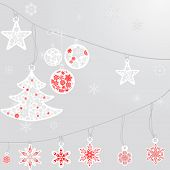 picture of premises  - silver cristmas balls and fir tree with snowflake on silver background - JPG