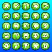 stock photo of arcade  - Game green interface cartoon ui buttons set - JPG