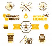 picture of bee-hive  - Bee honey natural organic products colored label set isolated vector illustration - JPG