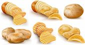 image of potato chips  - potatoes and potato chips and cut potato tubers on a white background - JPG