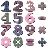 stock photo of poka dot  - scrapbook numbers and signs on white background vector illustration - JPG