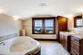 image of bath tub  - Luxury bathroom with whirlpool brown cabinet and white whirlpool bath tub - JPG
