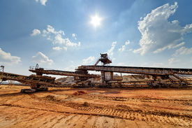 foto of open-pit mine  - Open coal mining pit with heavy machinery - JPG