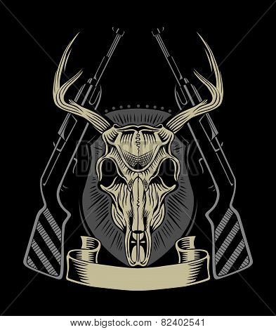 Illustration of deer skull.