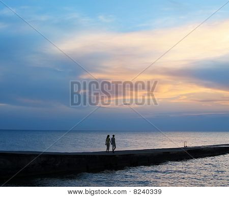 Lovers, Sea And Sunset
