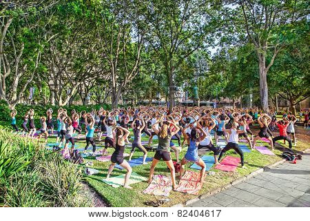 SYDNEY, AUSTRALIA-JANUARY 9, 2015 : People enjoy in free classes joga at Hyde park for Sydney festival in Sydney, Australia on January 9,2015. Sydney festival start about January every year .