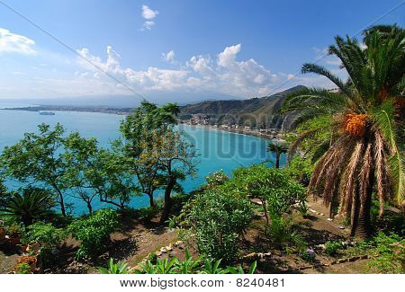Taormina Landscape With Etna Volcano In Background, Sicily