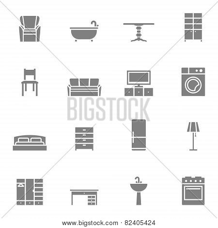 Silhouette home furniture vector icons set