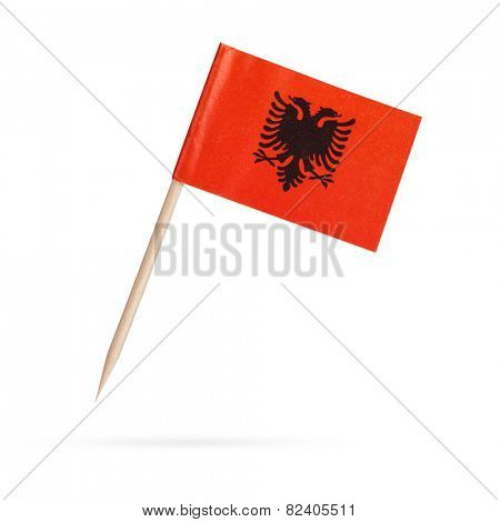 Miniature paper flag Albania. Isolated on white background. With shadow below