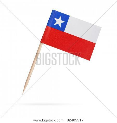 Miniature paper flag Chile. Isolated on white background.With shadow below