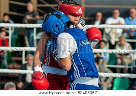 Model Boxing Match Between Girls From Russia And Kazakhstan