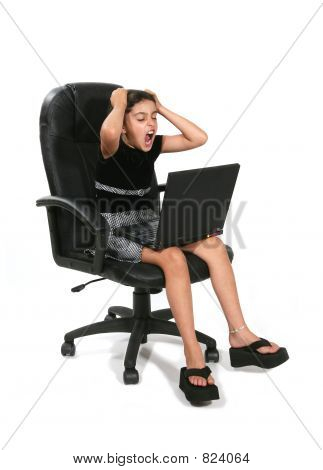Mad Girl at Computer