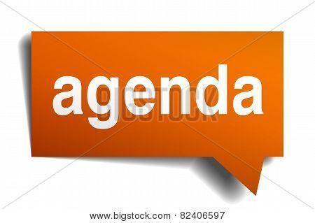 Agenda Orange Speech Bubble Isolated On White