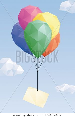 Low Poly balloons with blank greeting card. Low Poly graphic of blank greeting card attached to balloons in the sky.