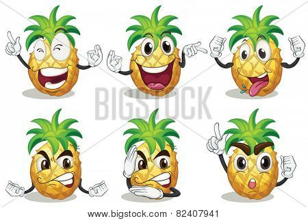 Illustration of pineapple with facial expressions