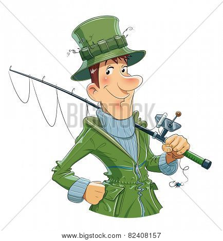 Fisherman with rod. Fishing. Eps10 vector illustration.