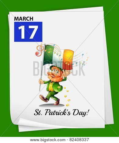 Illustration of March 17 is St.Patrick's day